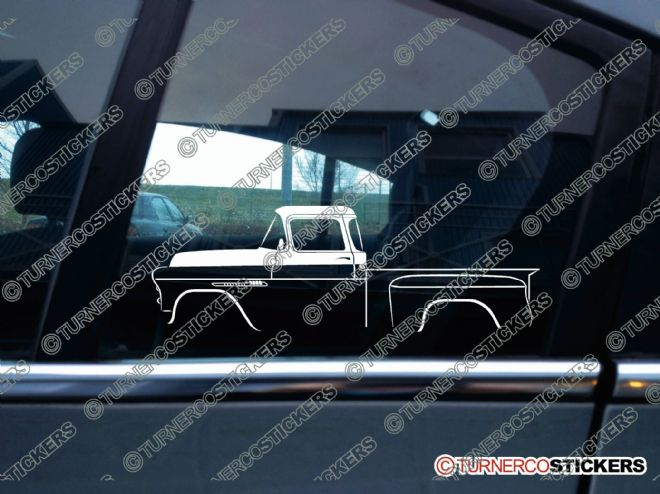 2x Car Silhouette sticker - 1955 Chevrolet Task Force step side classic truck
